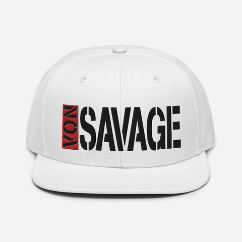 VonSavage Red Tag Black Threads Snapback Hat