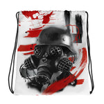 Rik Sharp Polka Trash Gasmask  Drawstring Bag