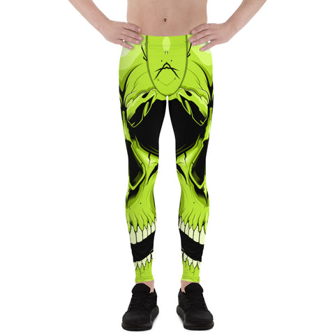 G2GBay  Skull Face  Lime Green Men's Leggings