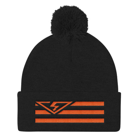 VS FLAG Orange Threads Pom Pom Knit Cap