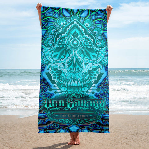 Adam O'Brien High Cyan Skull Beach Towel