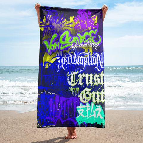 "BlackLetterRitual ""Redemption"" Towel in Blue/Purple/Yellow"