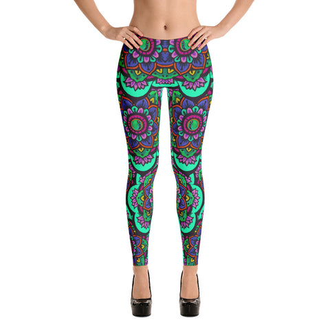 Todd Boling Teal Mandala Leggings