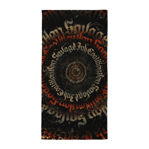 Black Letter Ritual Regal Black, Red and Gold Calligrafitti Towel