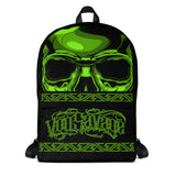 G2GBay SKULL FACE Green Skull Backpack
