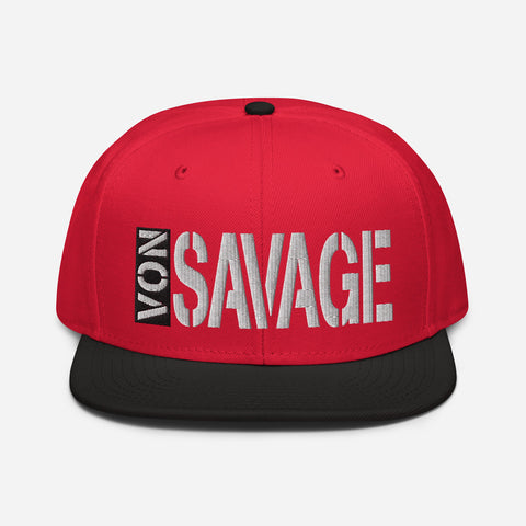 VonSavage Tag White threads Snapback Hat