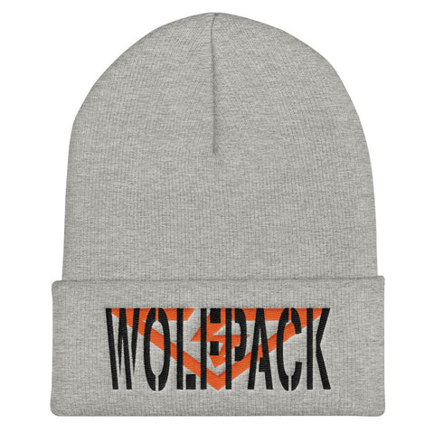 WOLFPACK Orange and Black Threads Cuffed Beanie