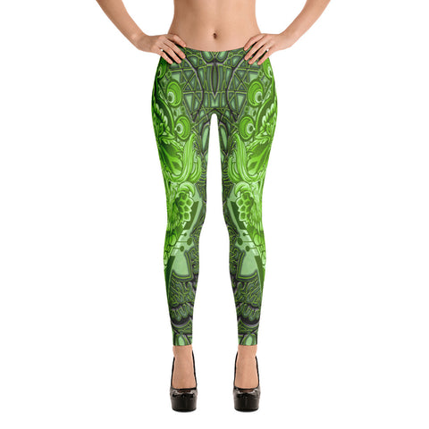 Adam O'Brien Green Skull Leggings