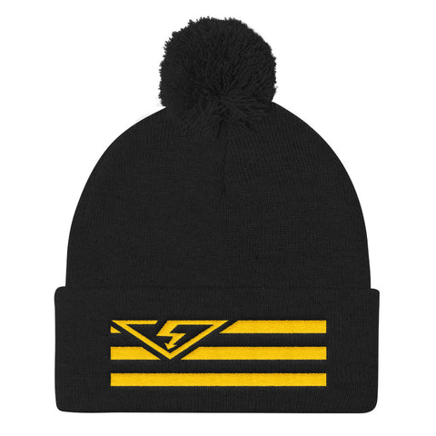 VS FLAG Gold Threads Pom Pom Knit Beanie