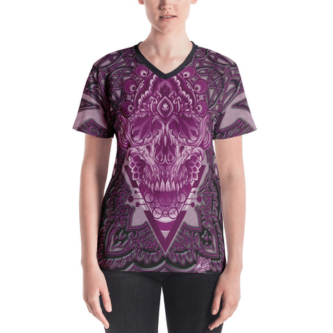 Adam O'Brien Burgundy Skull Women's V-neck