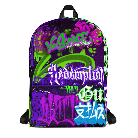 "BlackLetterRitual ""Redemption"" Backpack in Black/Purple"