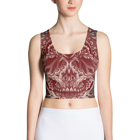 Adam O'Brien Maroon Skull Crop Top