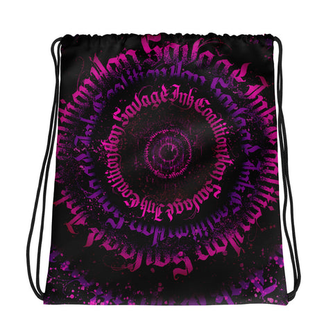 BlackLetterRitual Calligrafitti Pink/Purp Drawstring bag