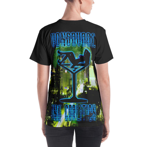 Jamey Lynn SIN CITY Blue Neon  Women's Crew Neck T-shirt