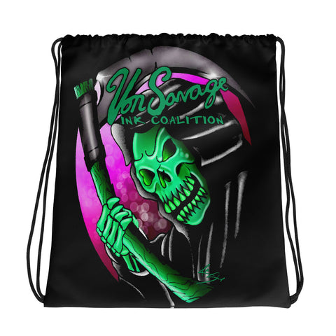 Rik Sharp Green Grim Reaper Drawstring Bag