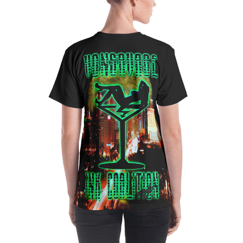 Jamey Lynn Sin City Green Neon  Women's Crew Neck T-shirt