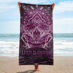 Adam O'Brien Burgundy Skull Beach Towel