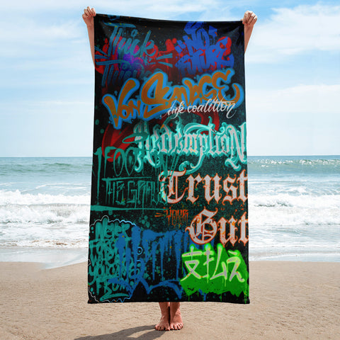 "BlackLetterRitual ""Redemption"" Towel in Black/Frost/Blue"