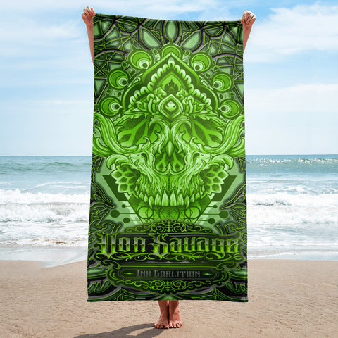 Adam O'Brien Green Skull Beach Towel