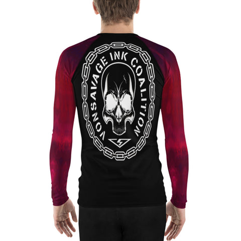 Red Ombre Sleeved Insignia Men's Rash Guard
