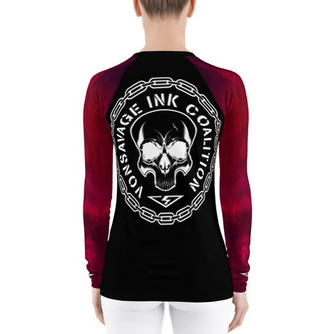 Red Ombre Sleeved Insignia Women's Rash Guard