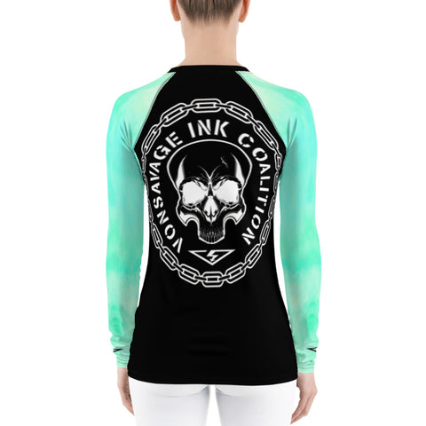 Sea Foam Ombre Sleeved Insignia Women's Rash Guard