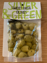 Load image into Gallery viewer, Silver & Green Sweet Basil Olives pitted green - 220g