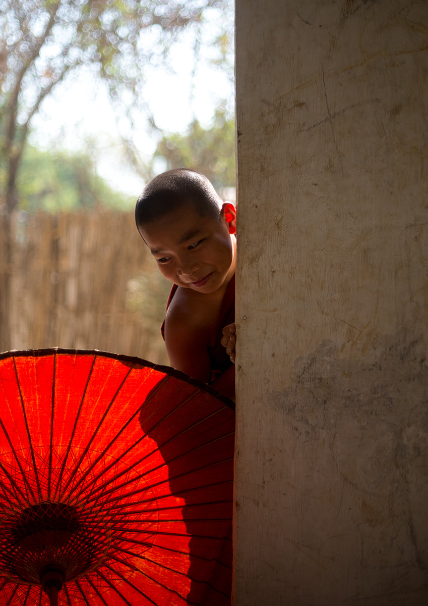 Young Monk Playing In Bagan- Myanmar