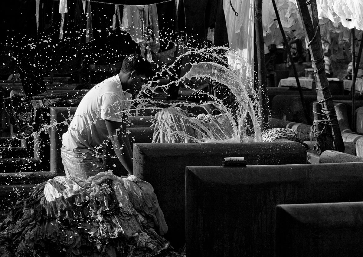 Dhobi Washing Clothes At Dhobi Ghat- Mumbai.