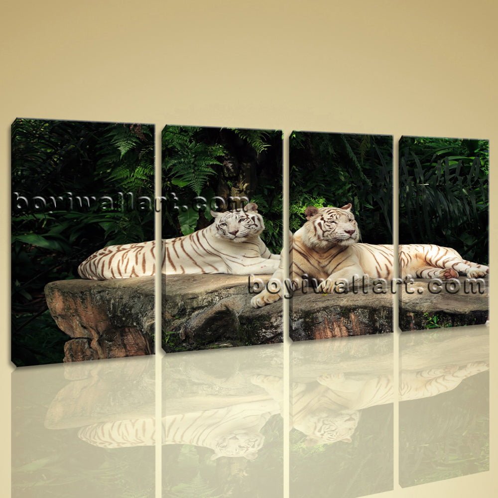 Large White Tiger Wall Art Photography Painting Bedroom 4 Panels Print
