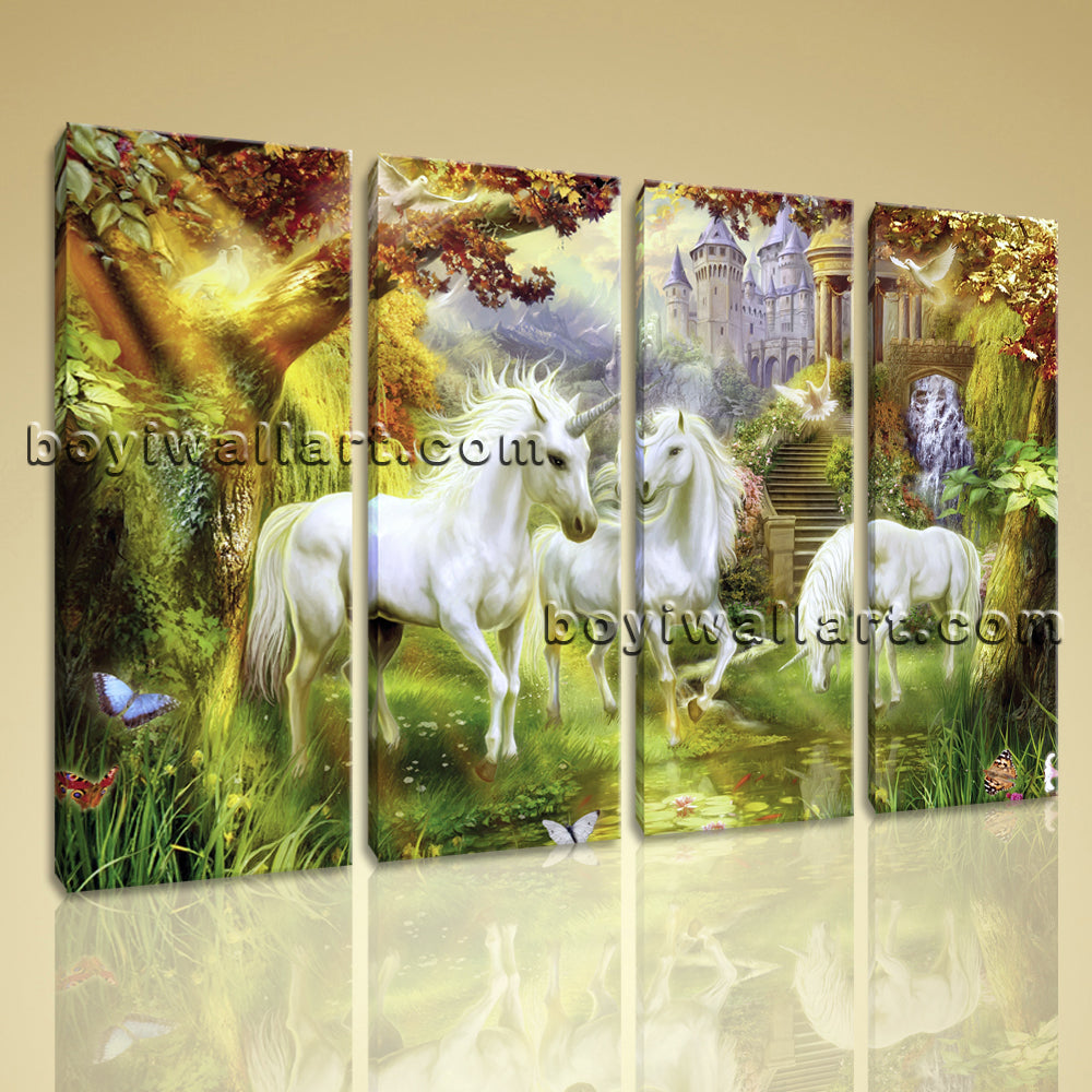 Large Unicorn Horse Picture Classic Wall Decor Living Room Four ...