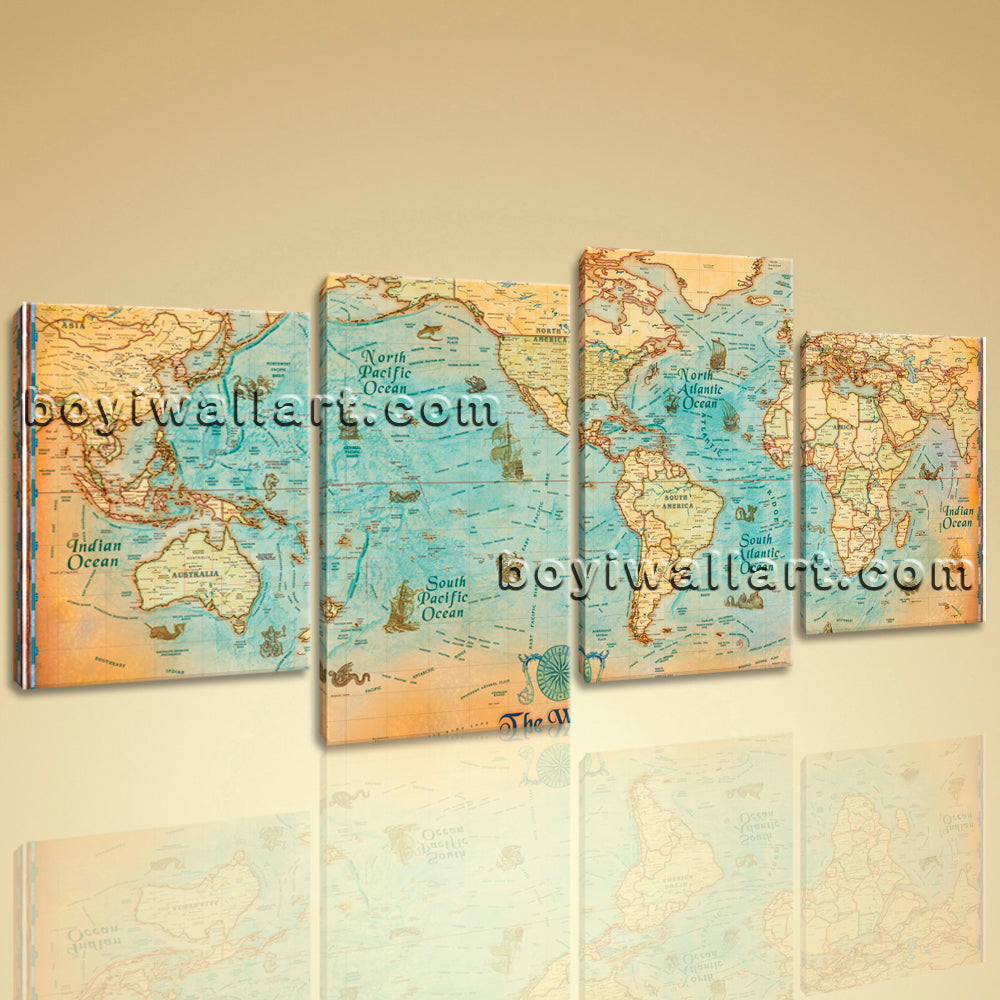 Oversized World Map Global HD Canvas Print Retro Giant Picture Wall Art  Decor