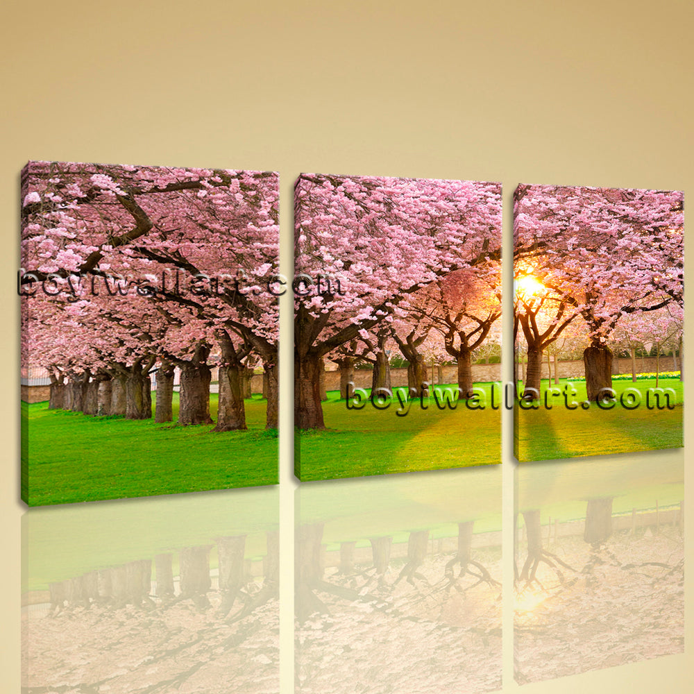 Sunrise Forest Tree Landscape Painting HD Print On Canvas Wall Art ...