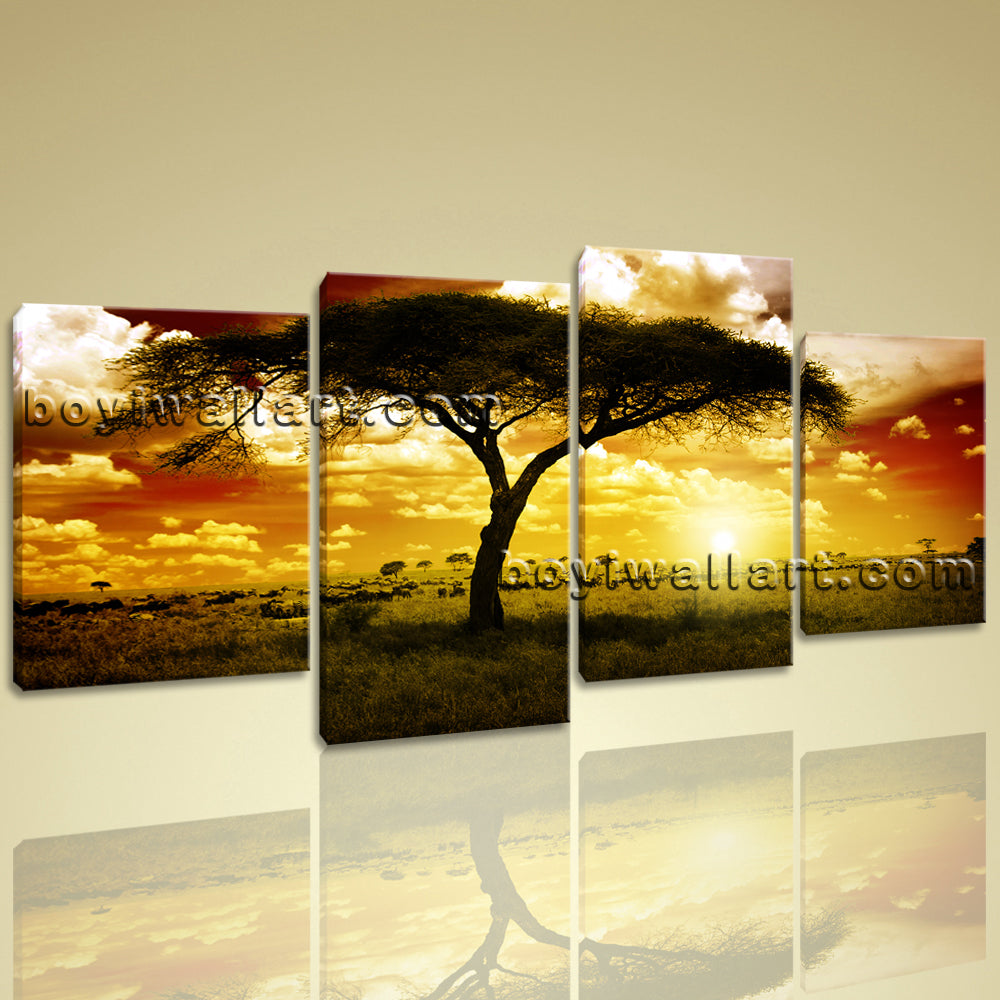 Xxl Large Wall Art Print On Canvas Savannah Sunset Glow Landscape ...