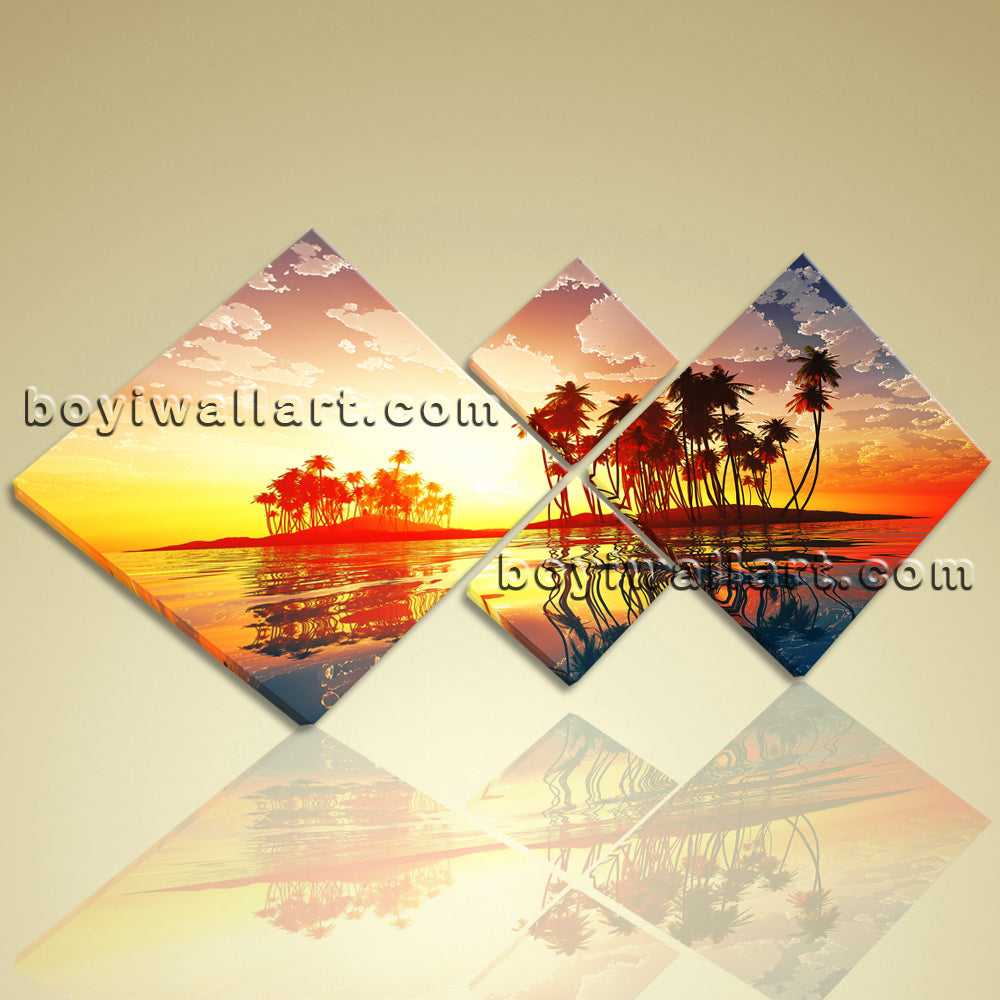 Large Wall Art Print On Canvas Contemporary Sunset Palm Tree ...