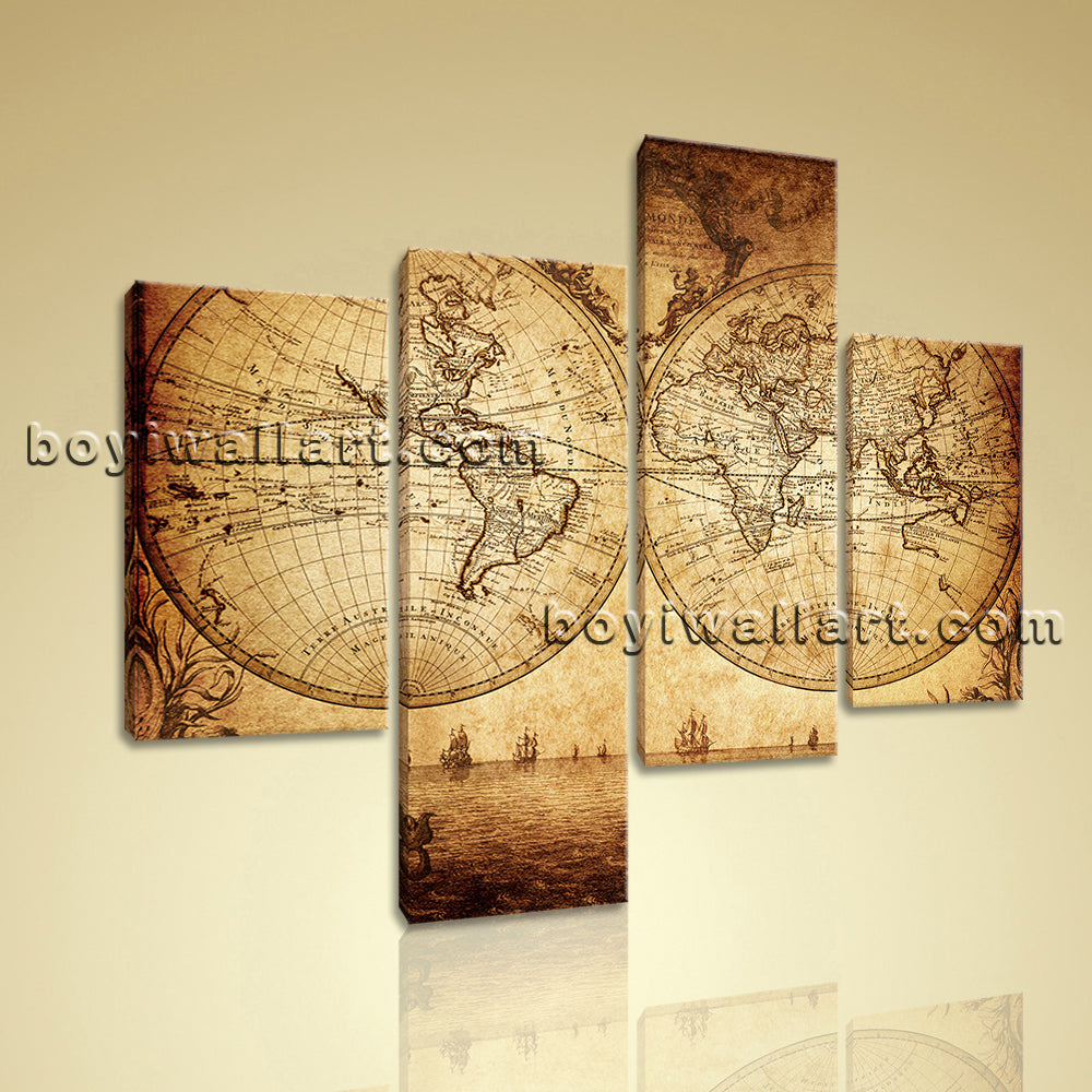 Large Vintage Map Of The World.Large Vintage Map Of The World Retro Canvas Art Living Room Four