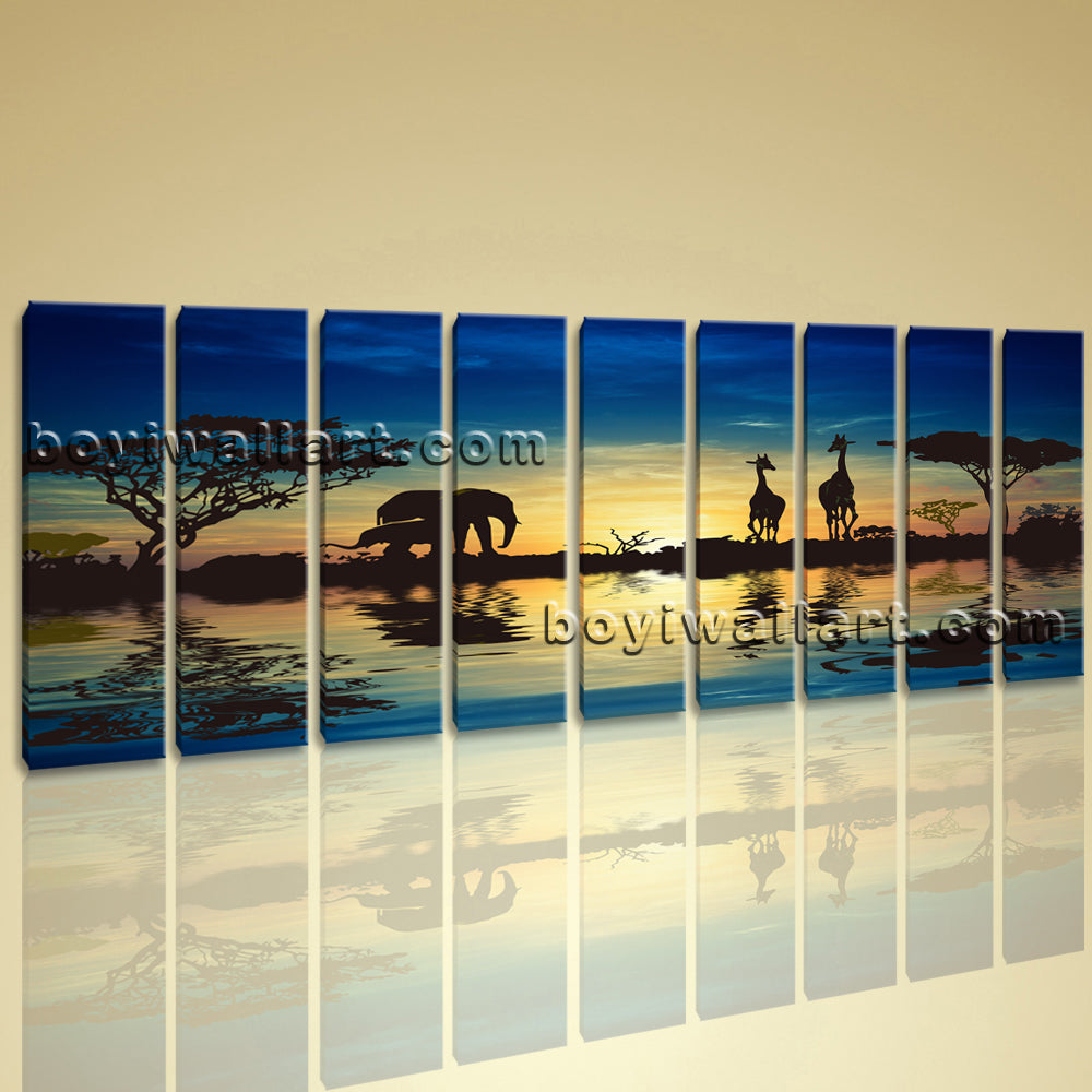 Xxl Large Wall Art Print On Canvas Blue Landscape Africa Sunset ...