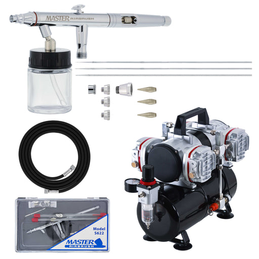 HI-FLOW All-Purpose Precision Dual-Action Siphon Feed 3 Tip Size Airbrushing System with Model 4 Cylinder Piston Air Compressor with Air Storage Tank