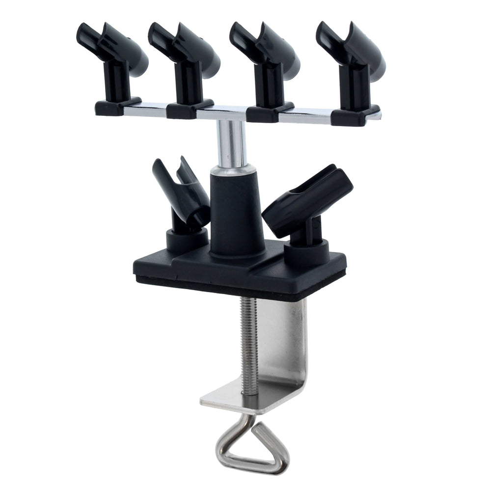 Universal Clamp-On Airbrush Holder that Holds Up to 6 Airbrushes