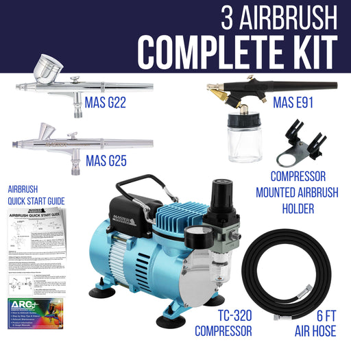 Cool Runner II Dual Fan Air Compressor Airbrushing System Kit with 3 Airbrush Sets 0.2, 0.3mm Gravity & 0.8mm Siphon Feed - Hose, Holder, How-To Guide