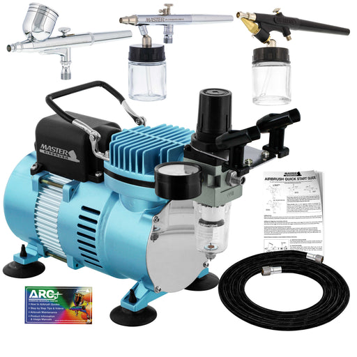 Cool Runner II Dual Fan Air Compressor Airbrushing System with 3 Airbrush Sets, 0.3 mm Gravity & 0.35, 0.8mm Siphon Feed - Hose, How To Airbrush Guide