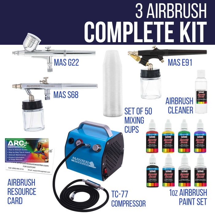 Professional 3 Airbrush Kit with High Performance Compact Airbrush Compressor, Air Hose, 6 Color Airbrush Paint Set with Cleaner & Paint Reducer