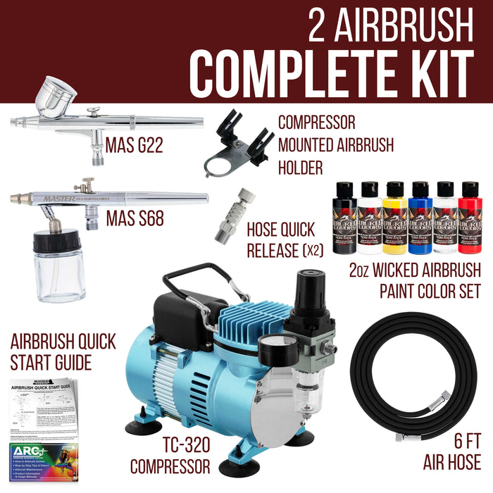 Multi-Purpose Airbrushing Kit with Cool Runner II Dual Fan Air Compressor, Air Hose & 6 Wicked Createx Colors
