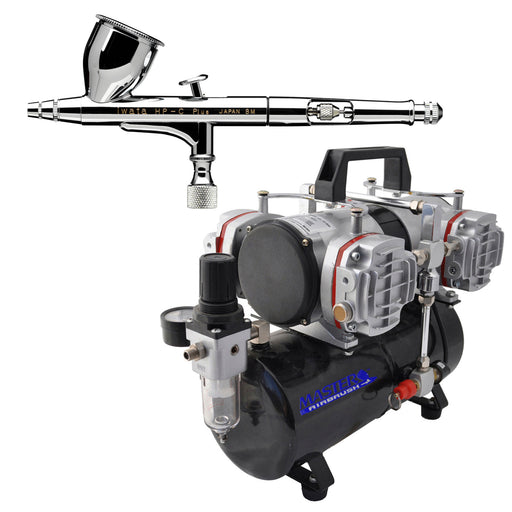 High Performance Plus HP-C Plus Dual-Action Airbrush with 0.3 mm. Tip with 4 Cylinder Piston Airbrush Air Compressor with Air Storage
