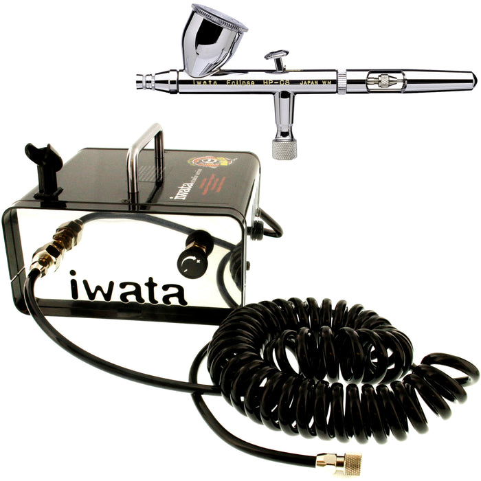 Iwata Eclipse HP-CS 4207 Airbrush Kit with Iwata Ninja Jet Compressor & Air Hose