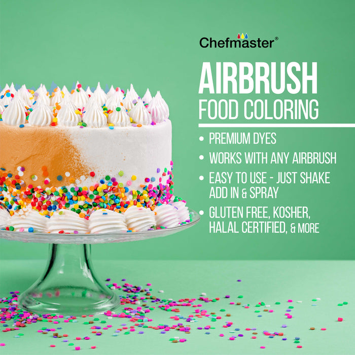 Cake Decorating Airbrushing System Kit with a 4 Color Chefmaster Food Coloring Set - G22 Gravity Feed Airbrush, Air Compressor, Guide Booklet