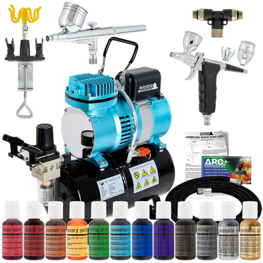 Cake Decorating Airbrushing System Kit with 12 Color Food Coloring Set - G22 Gravity Feed, G76 Trigger Airbrush, Air Tank Compressor, Guide Booklet