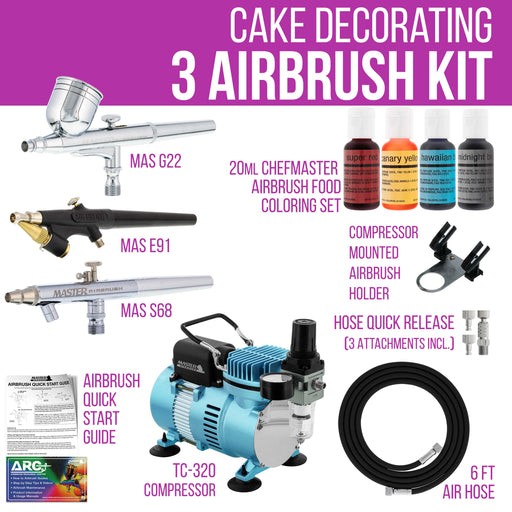 Cool Runner II Dual Fan Air Compressor Cake Decorating System Kit with 3 Airbrushes, Gravity and Siphon Feed, 4 Color Food Coloring Set - How-to Guide