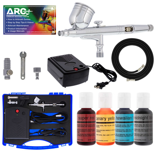 Cake Decorating Airbrushing System Kit with a Set of 4 Food Colors, Gravity Feed Dual-Action Airbrush, Air Compressor, Hose, Case and How-To Guide
