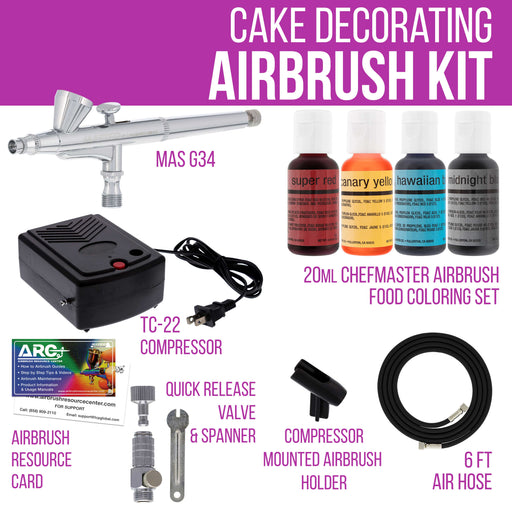 Cake Decorating Airbrushing System Kit with 4 Chefmaster Food Colors, Gravity Feed Dual-Action Airbrush, Air Compressor, Hose, How-To-Airbrush Guide